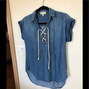Denim pullover shirt with front tie